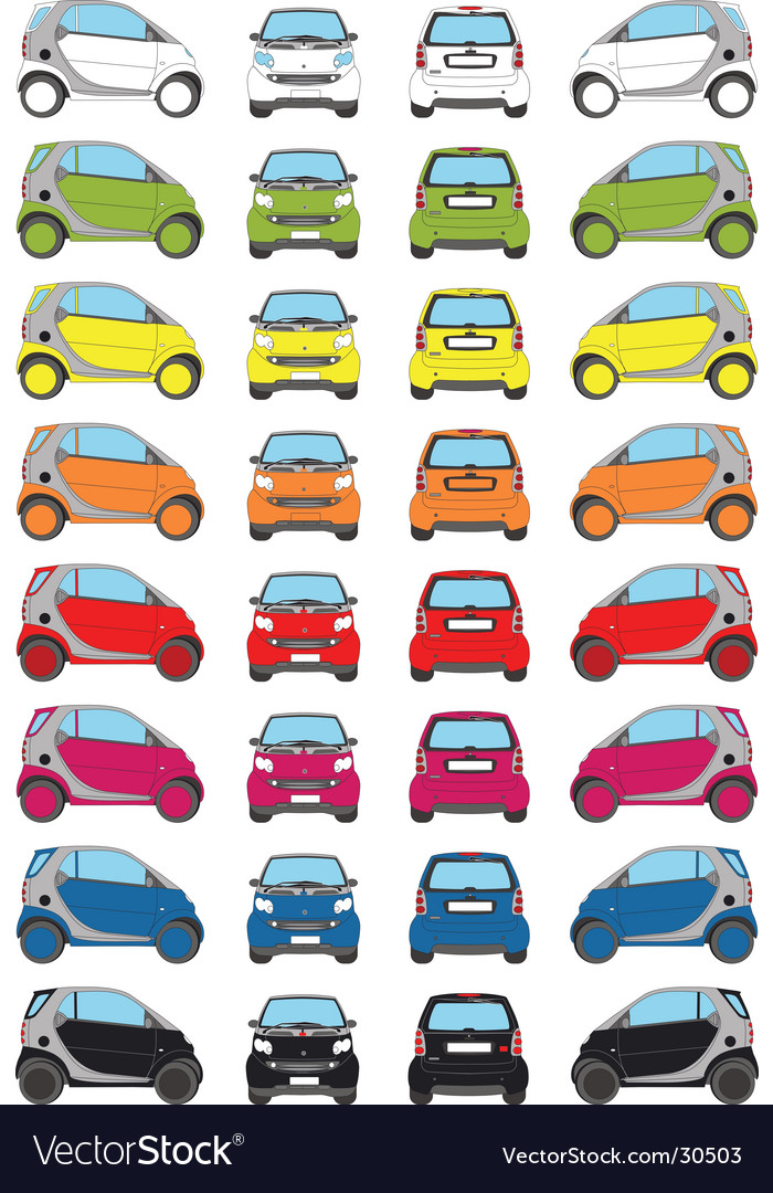 Colour little car icons vector