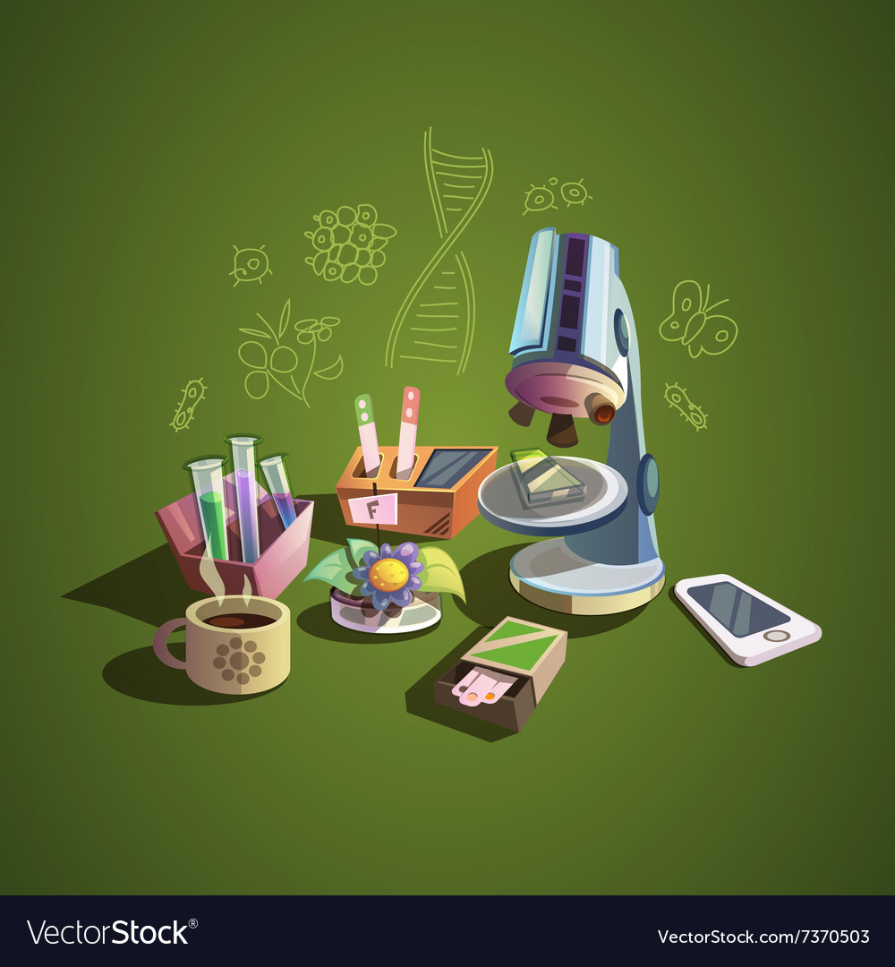 Science retro cartoon set vector
