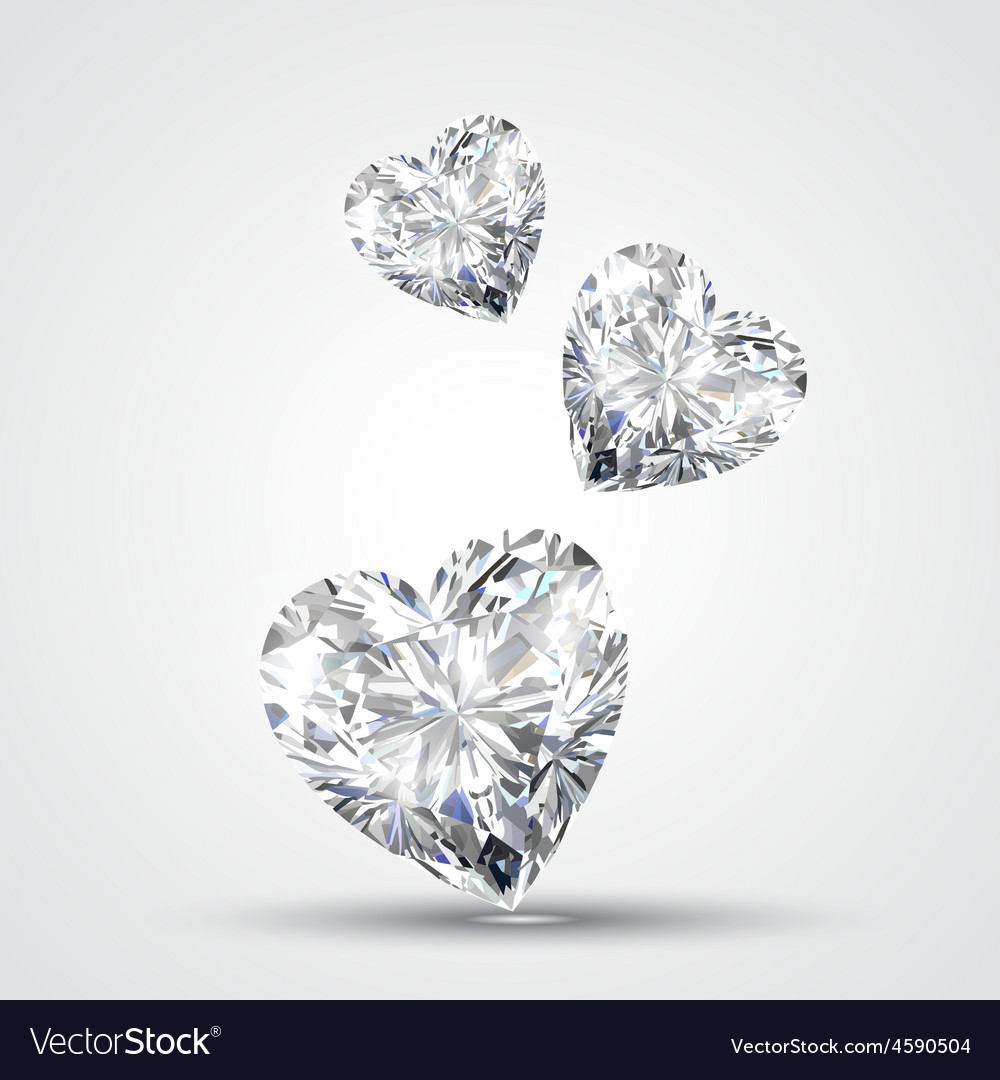 Diamond shape heart vector
