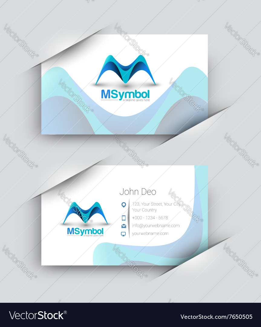 Odern business card set vector