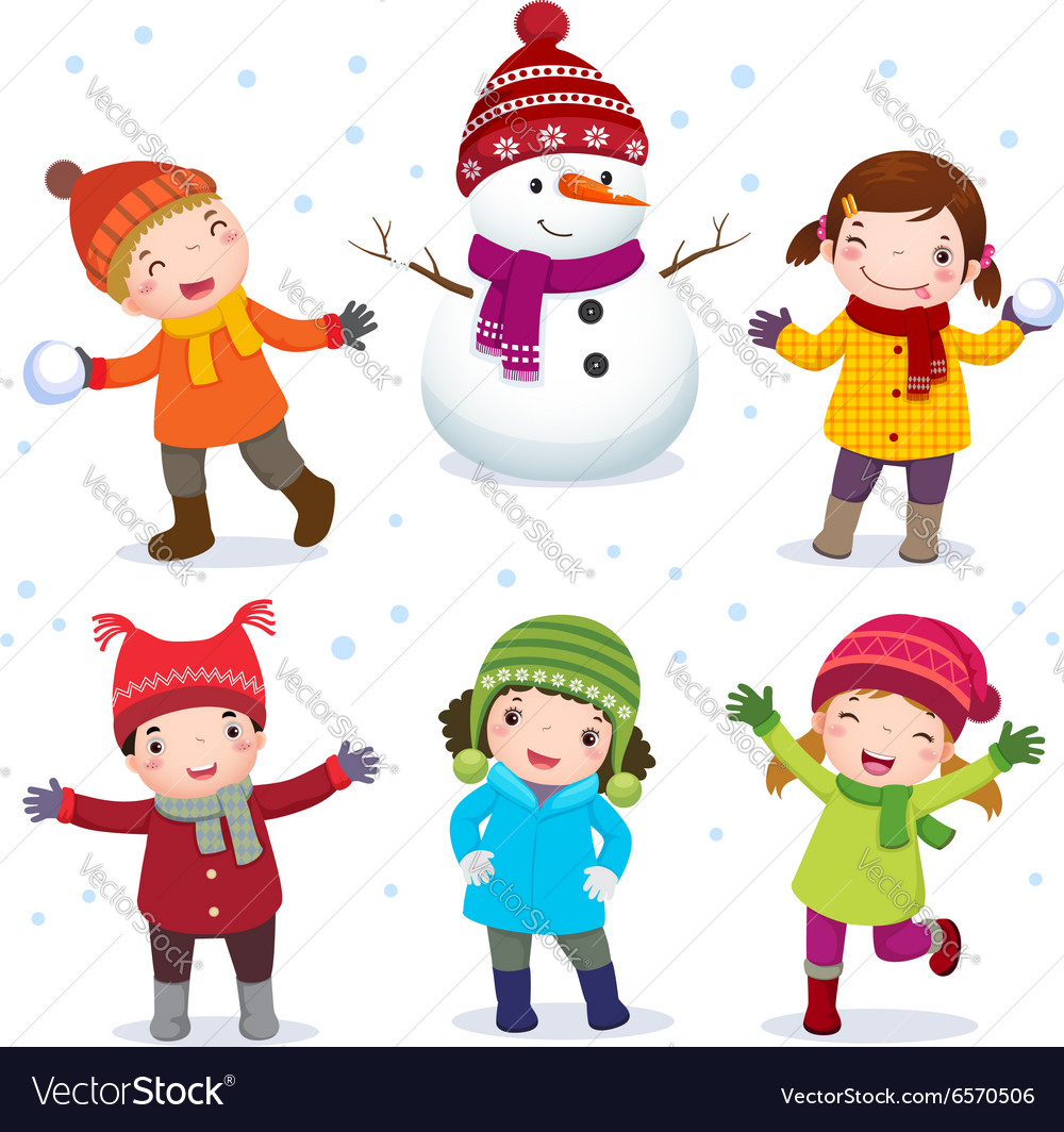 Collection of kids with snowman in winter costume vector