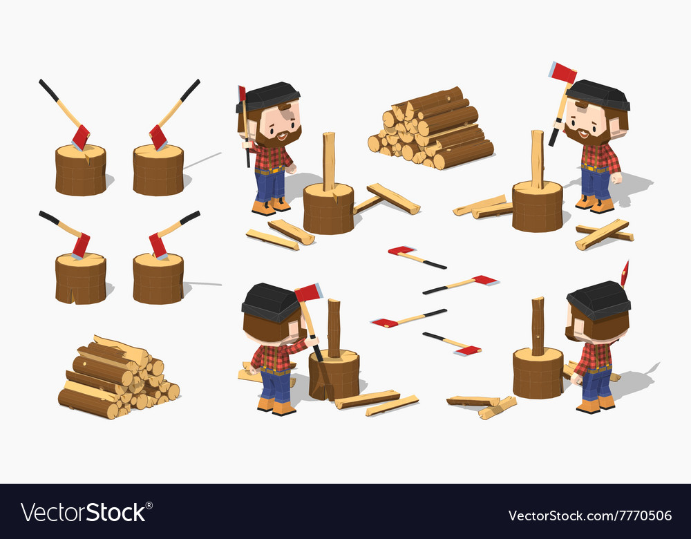 Firewood chopping by lumberjack vector