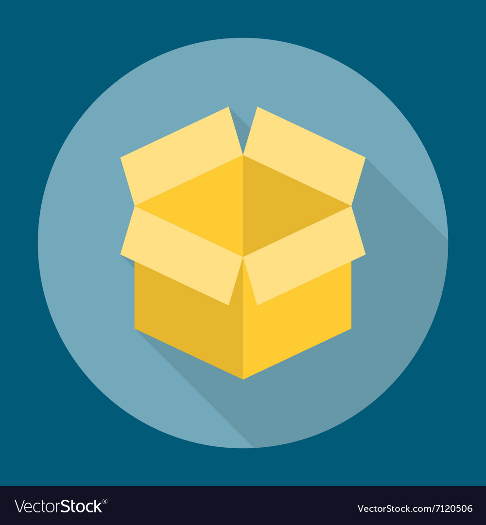 Open box icon flat vector