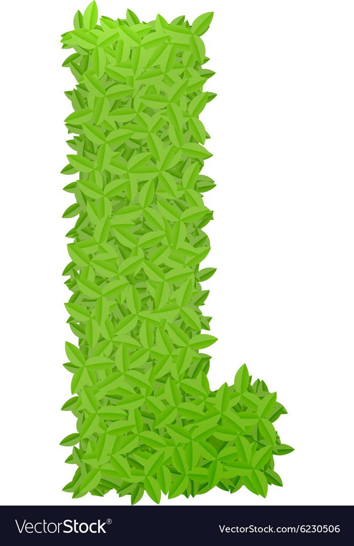 Uppecase letter l consisting of green leaves vector