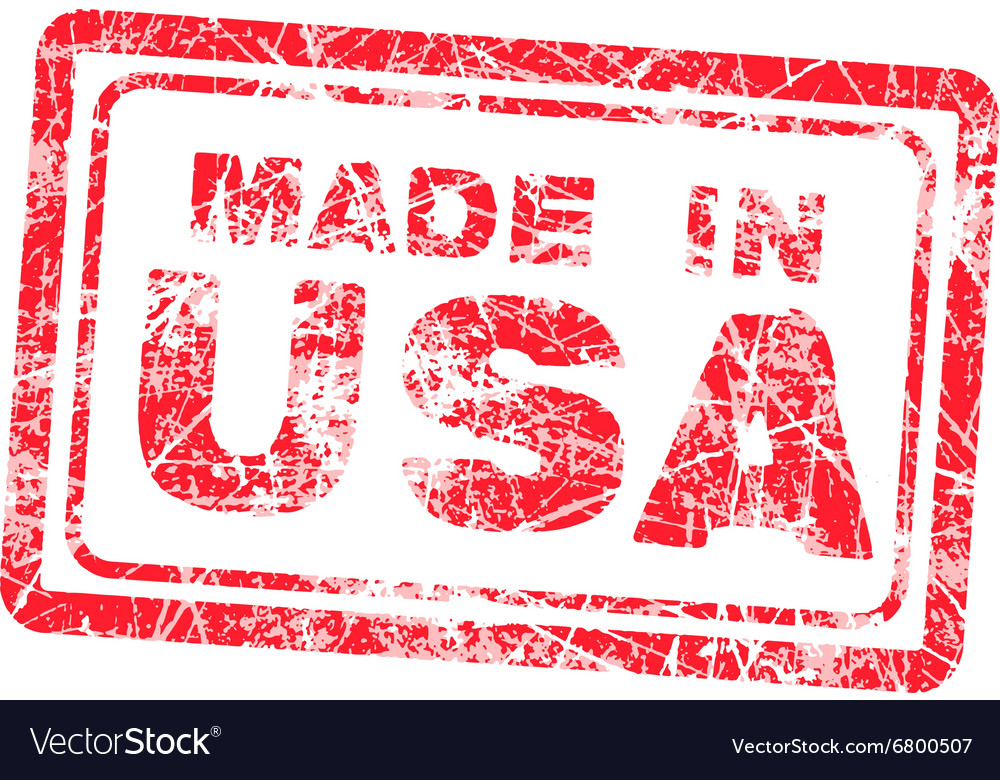 Made in usa red grunge rubber stamp vector