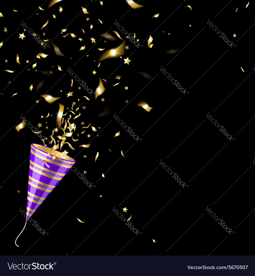 Party popper with gold confetti vector
