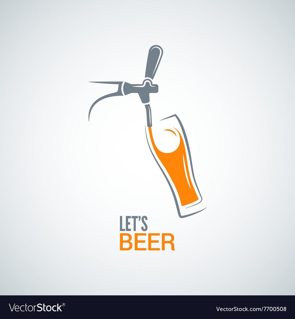 Beer tap glass design background vector