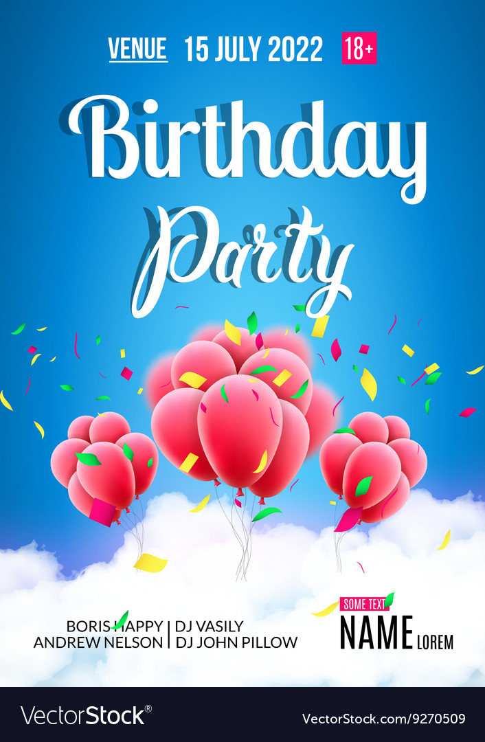 Birthday party poster sky clouds happy birthday vector