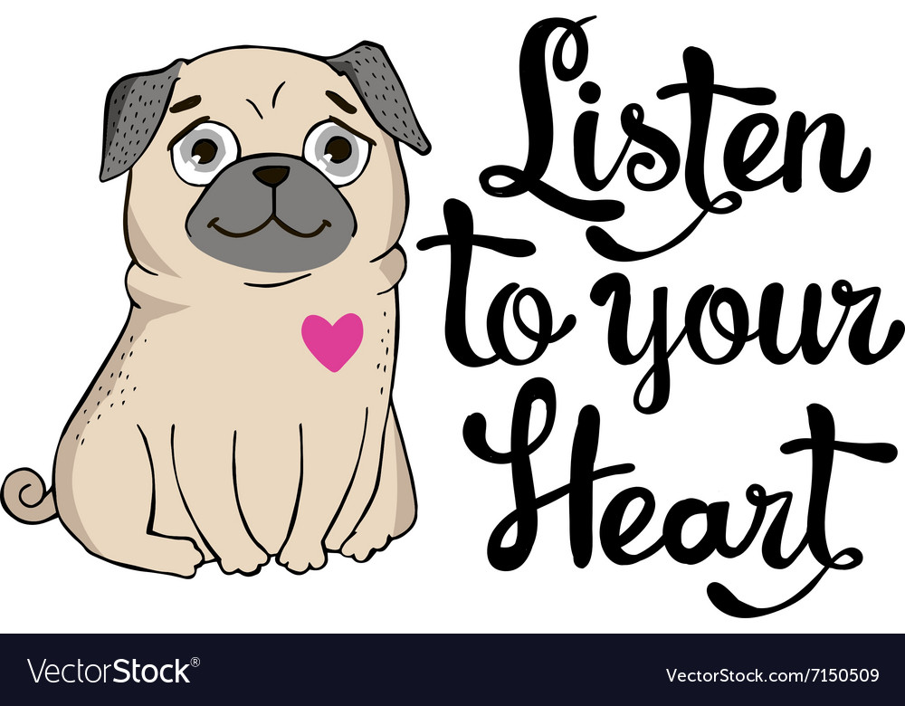 Greeting card with funny pug vector