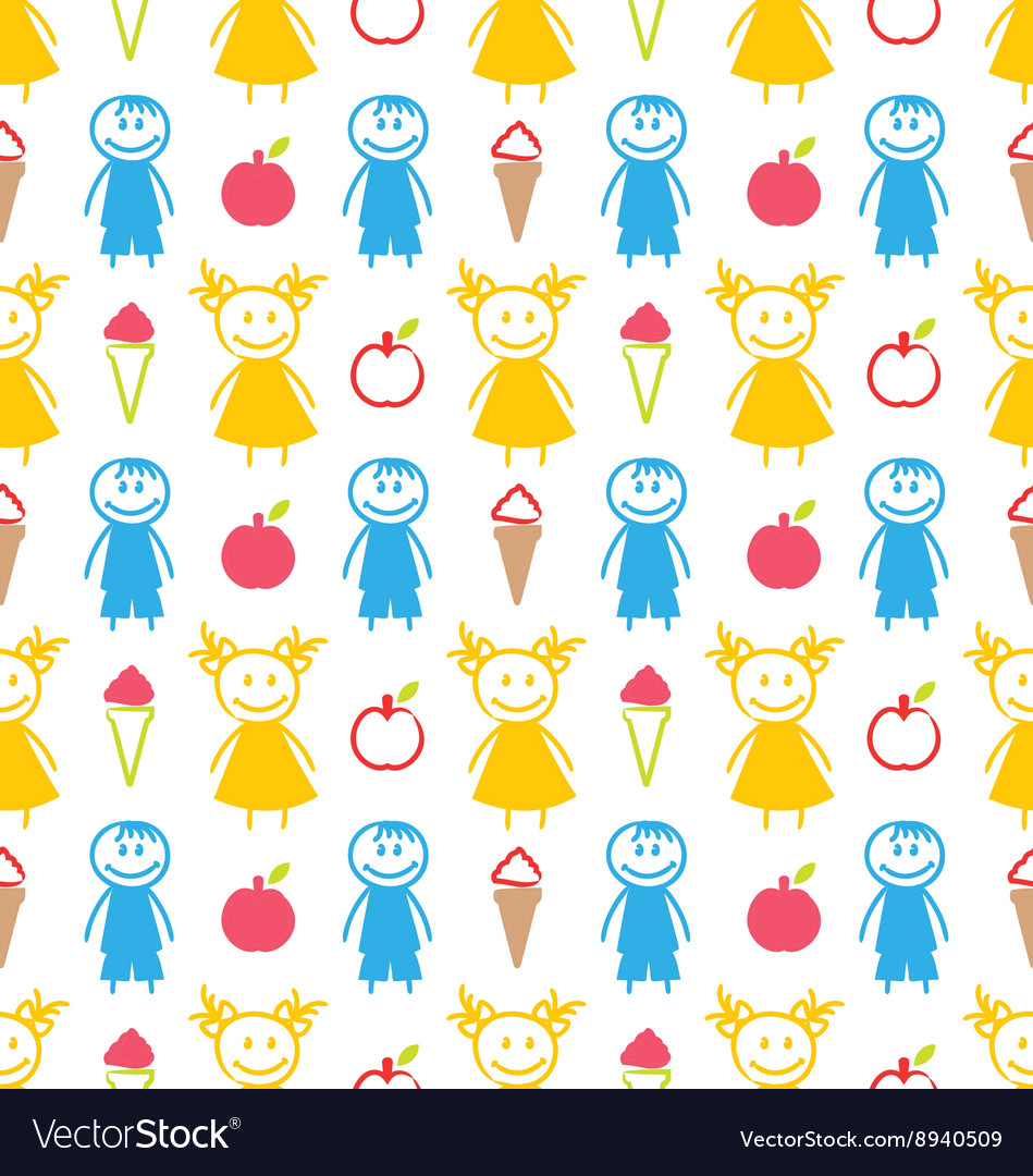 Seamless background with smiling kids with ice vector