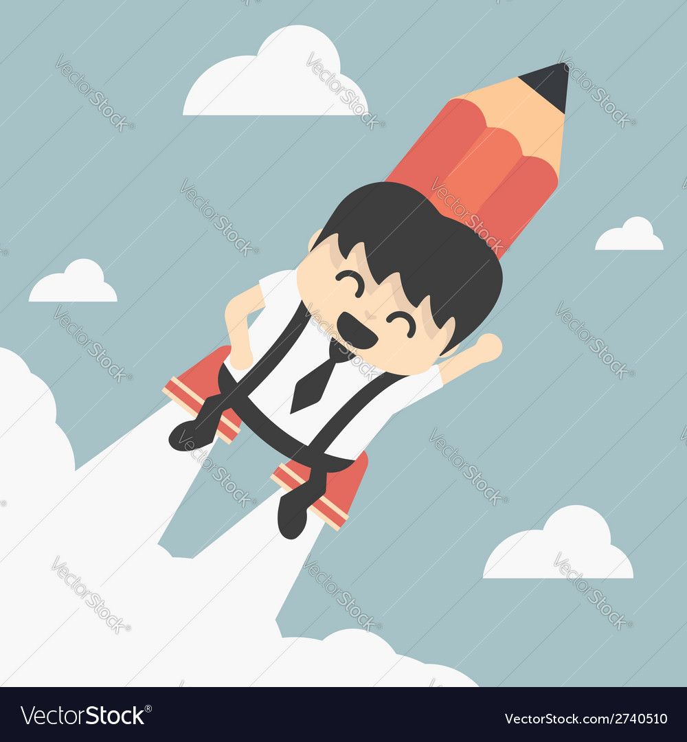 Businessman flying with a rocket pencil vector