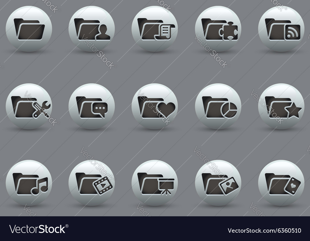 Folder icons 2 pearly series vector