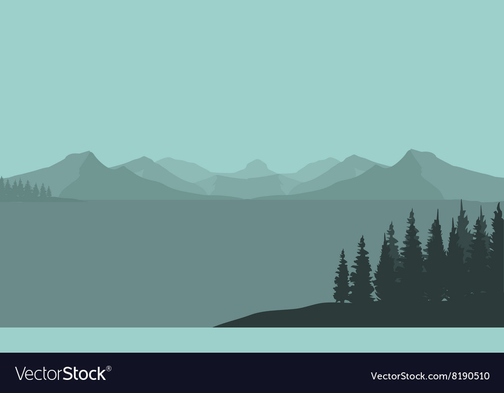 Silhouette of mountain and sea vector