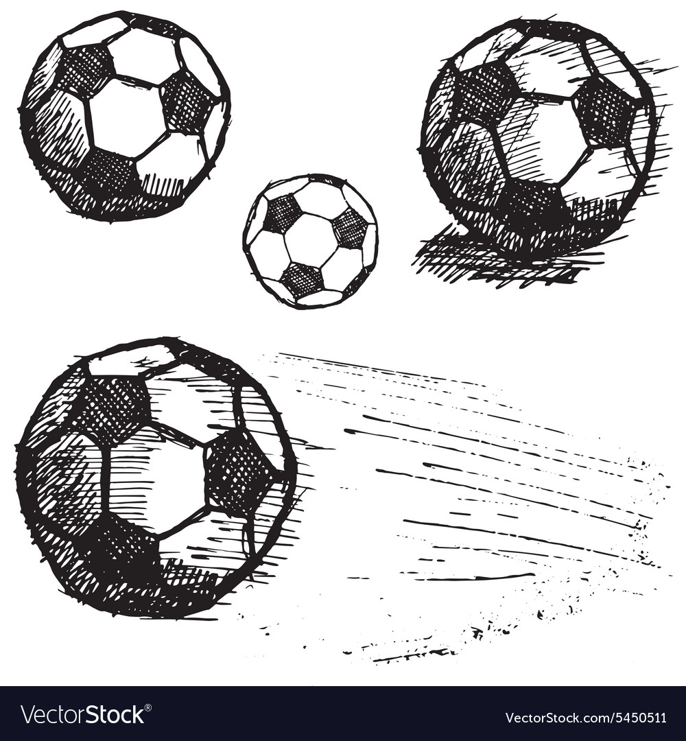 Football soccer ball sketch set isolated on white vector