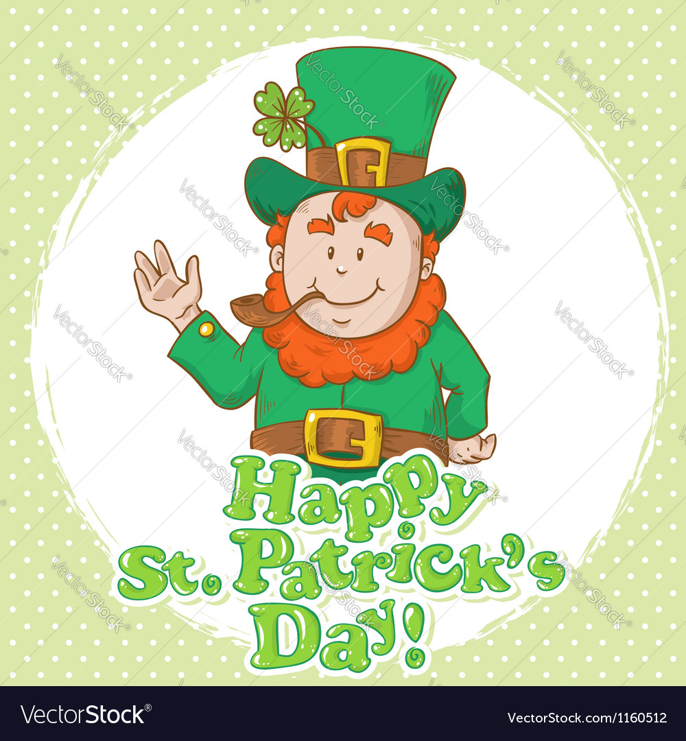 Cute saint patricks leprechaun in tophat vector