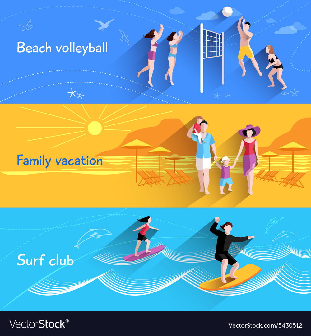 People on beach banner vector