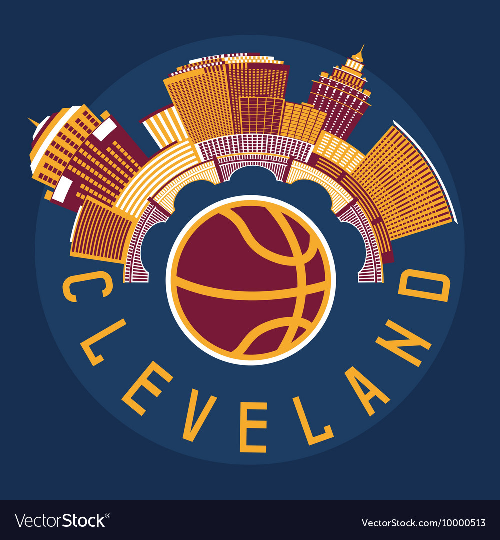 Cleveland ohio usa flat design with basketball vector