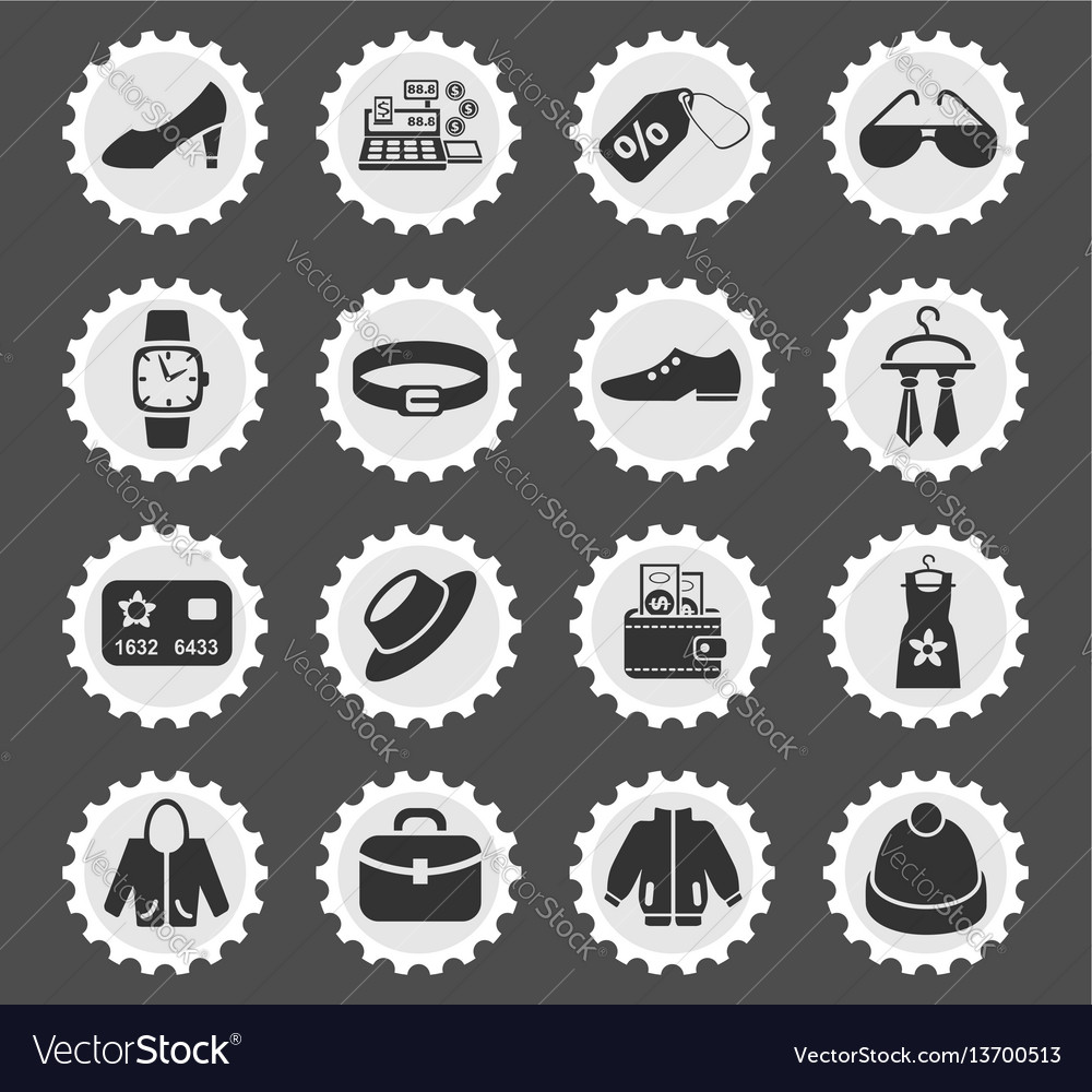 Clothes shop icon set vector