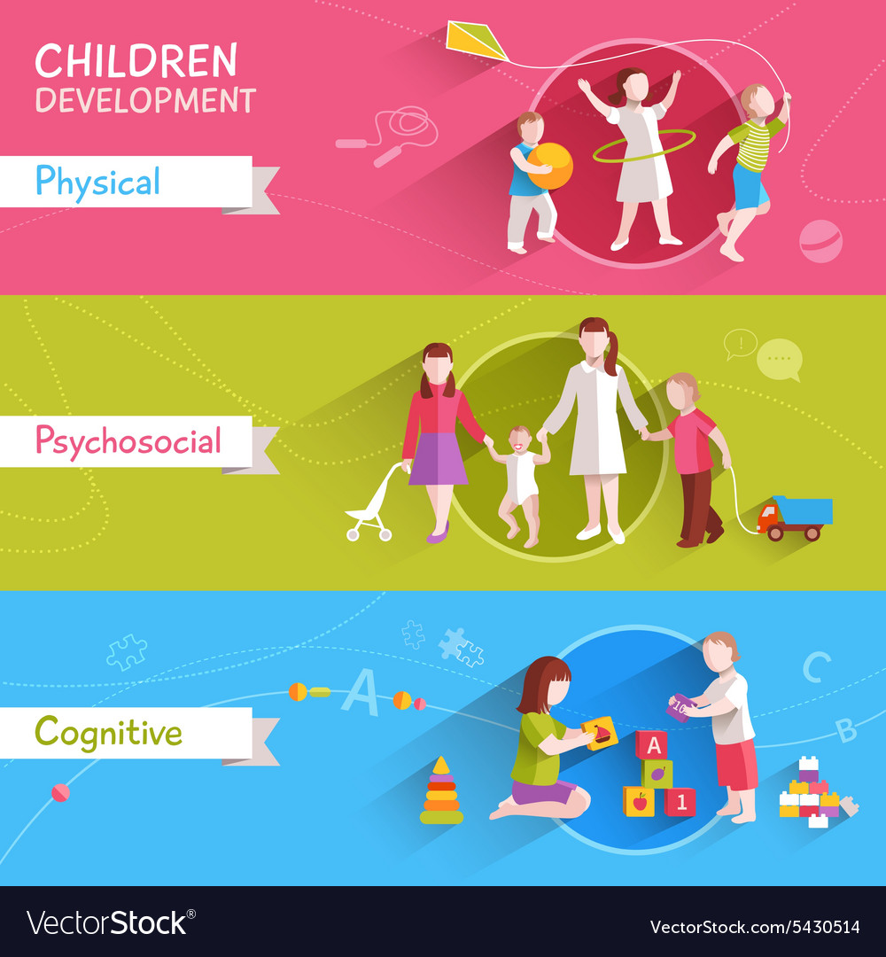 Children banner set vector