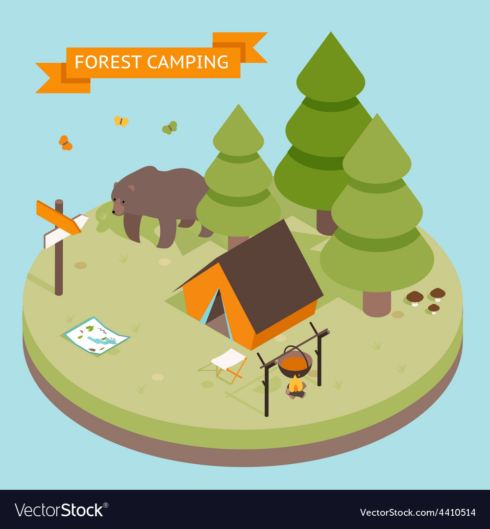 Isometric 3d forest camping icon vector