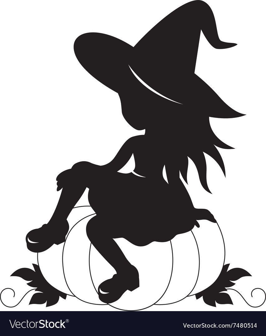 Little witch and pumpkin silhouette vector