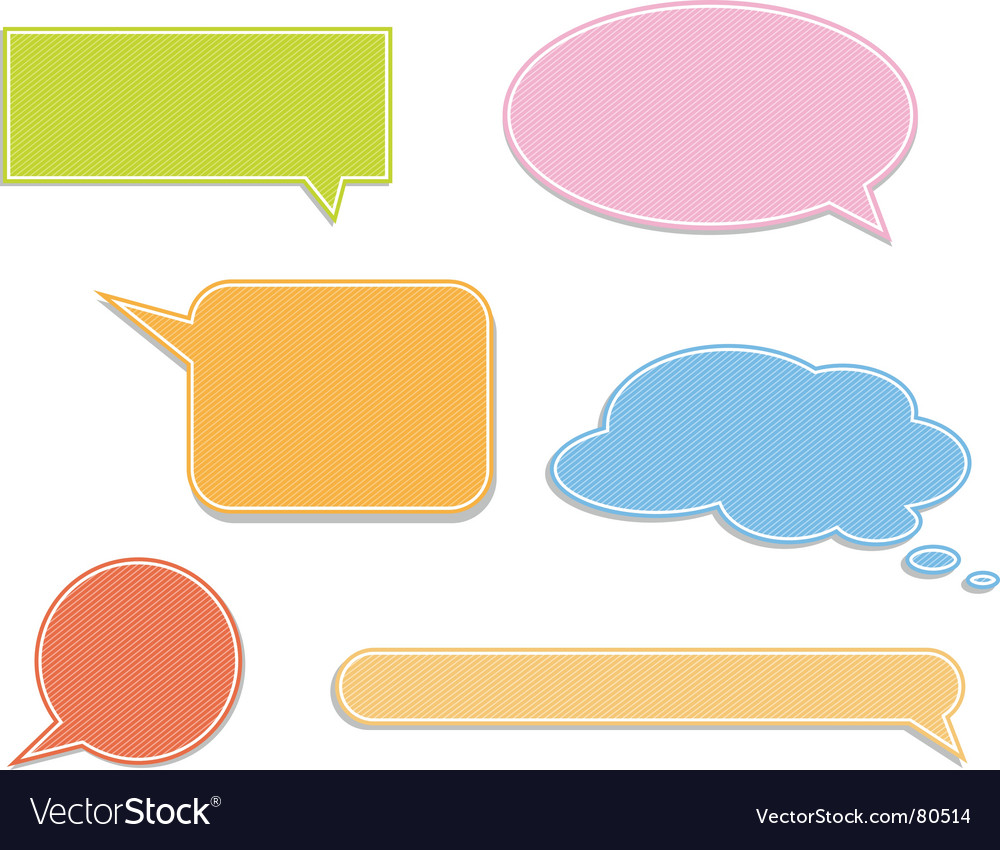 Set of colorful speech labels vector