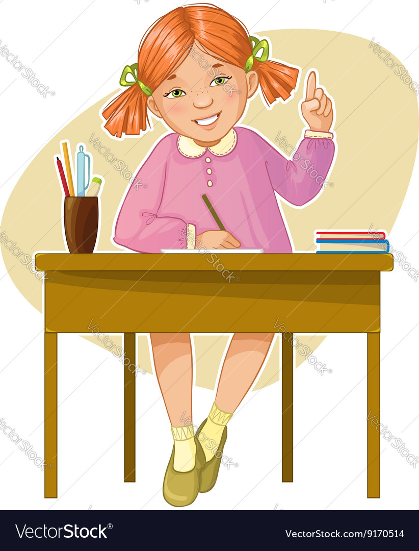 Small girl during her studying sitting at the desk vector