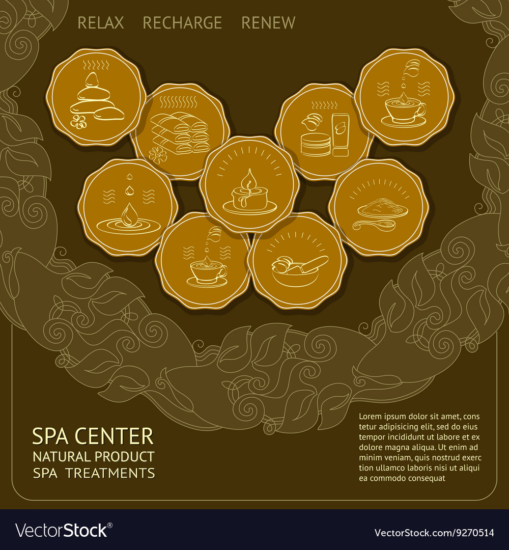 Template spa themed card with icons vector