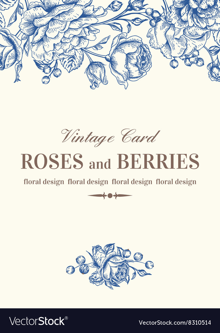 Vintage wedding card with pink roses vector