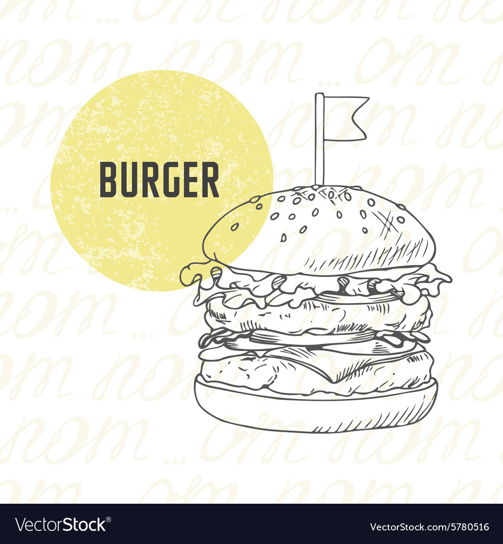 Hand drawn burger in black and white vector