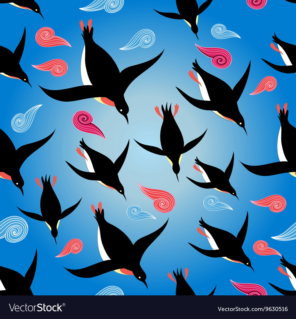 Penguins swimming in the sea vector