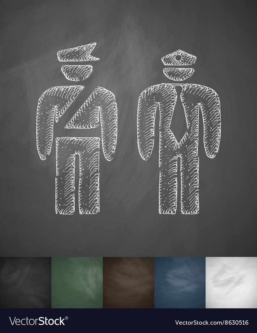 Two police officers icon hand drawn vector