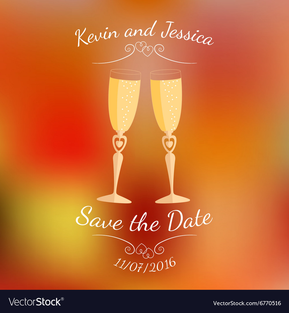 Wedding glasses with champagne over abstract vector