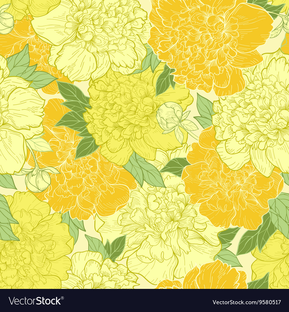 Seamless background with beautiful pattern of peon vector