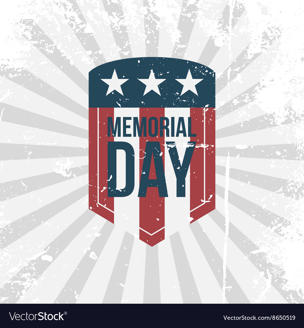 Memorial day partiotic retro label vector