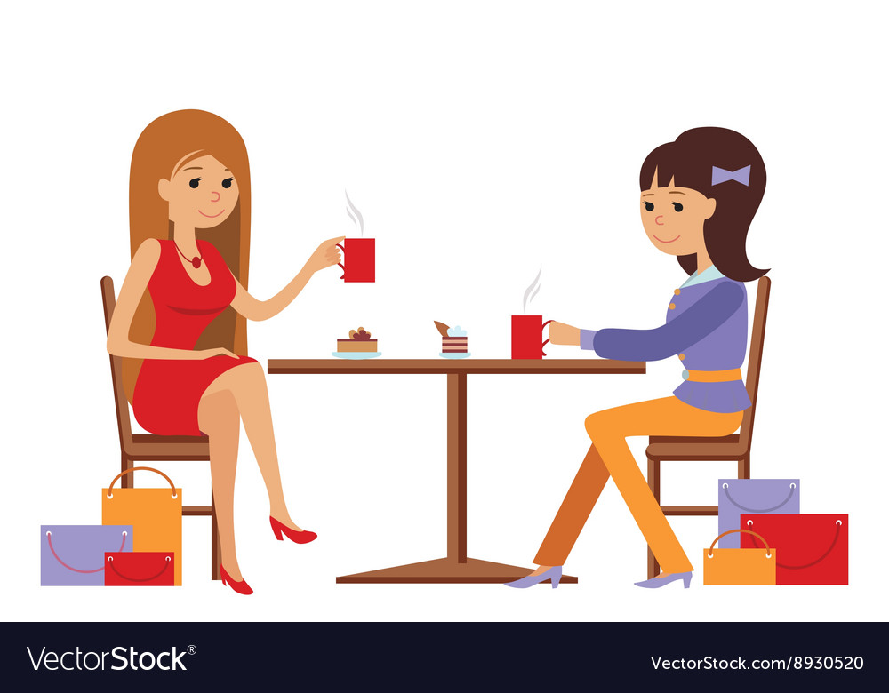 Two beautiful women talking at coffee shop while vector