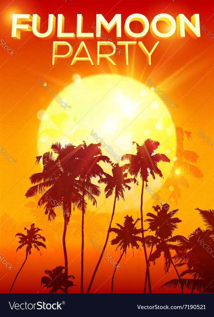 Big orange moon fullmoon party poster background vector