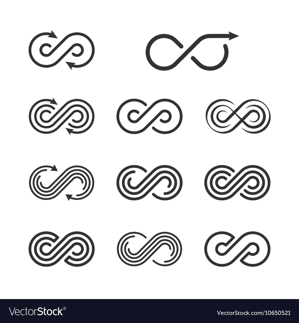 Infinity logo template set infinite symbol icon vector