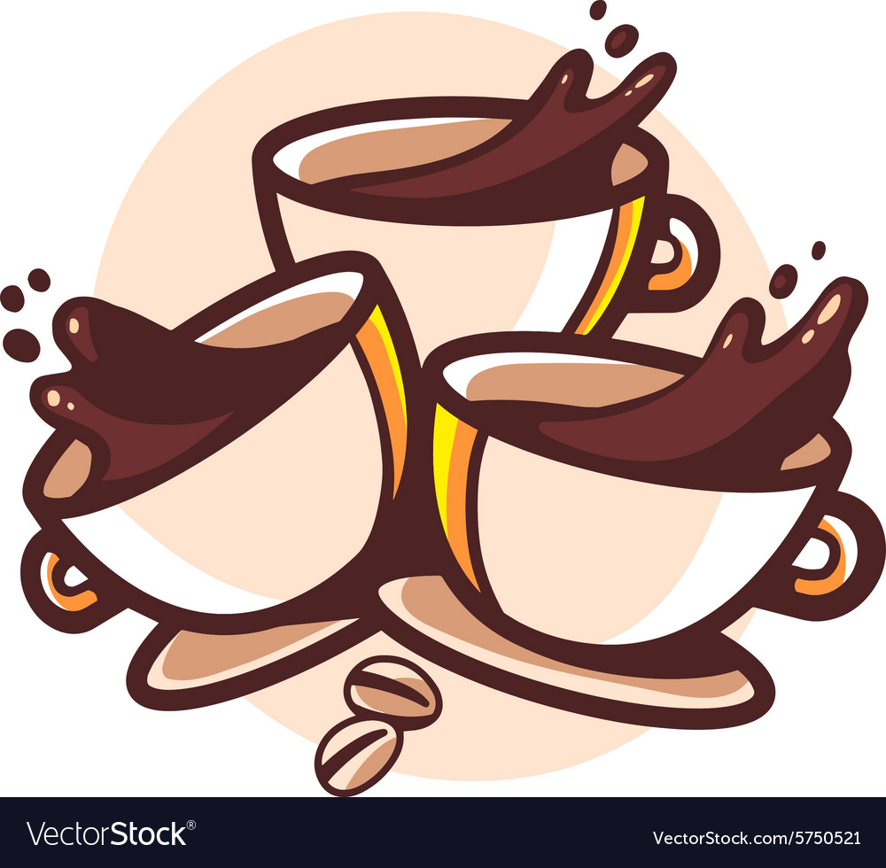 Three cups of coffee with splashes on whi vector