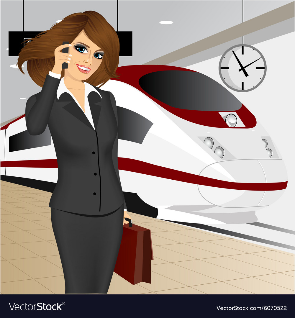 Businesswoman waiting for the train vector