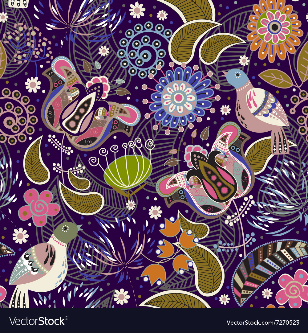 Paisley seamless pattern with birds vector
