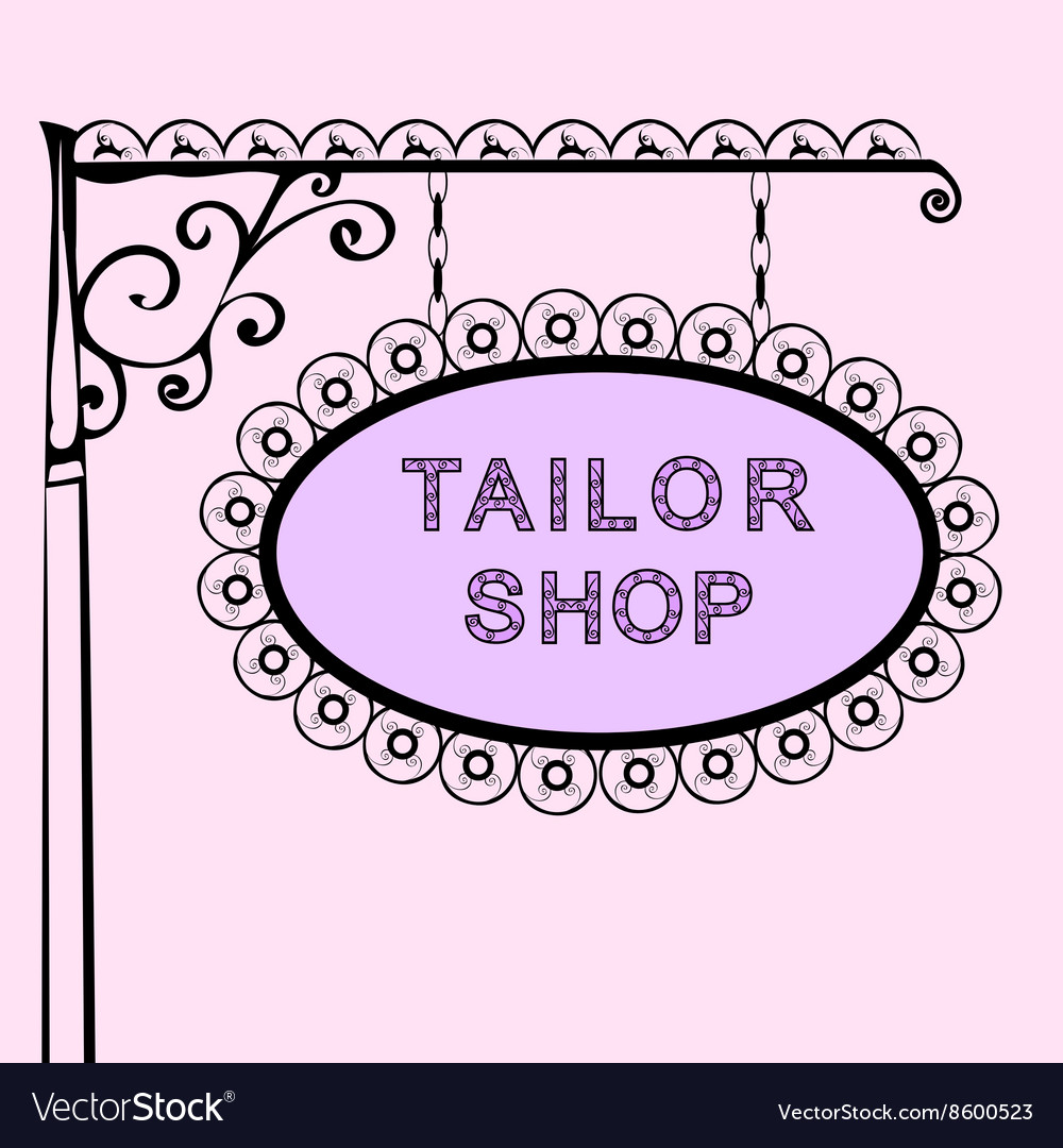 Tailor shop retro vintage street sign vector
