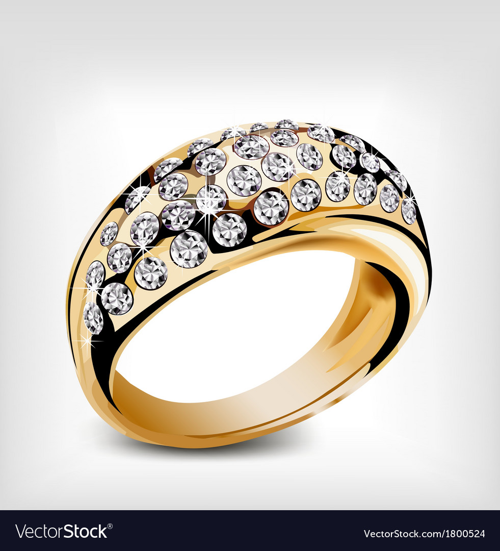 Gold diamond ring vector