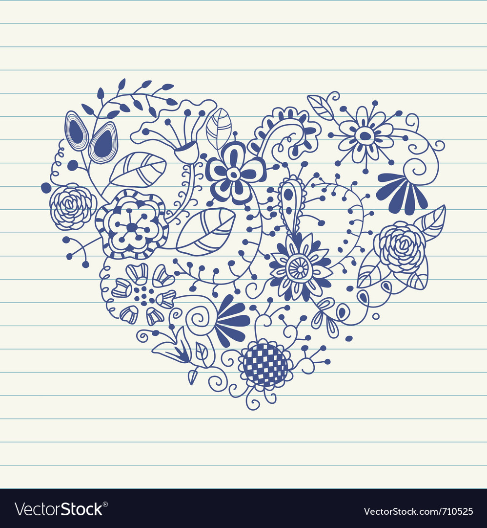 Floral heart heart made of flowers doodle heart vector