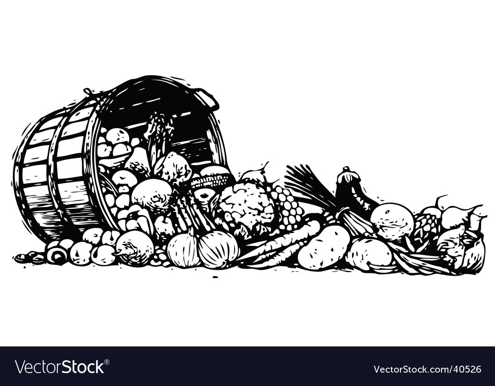 Barrel of vegetables vector