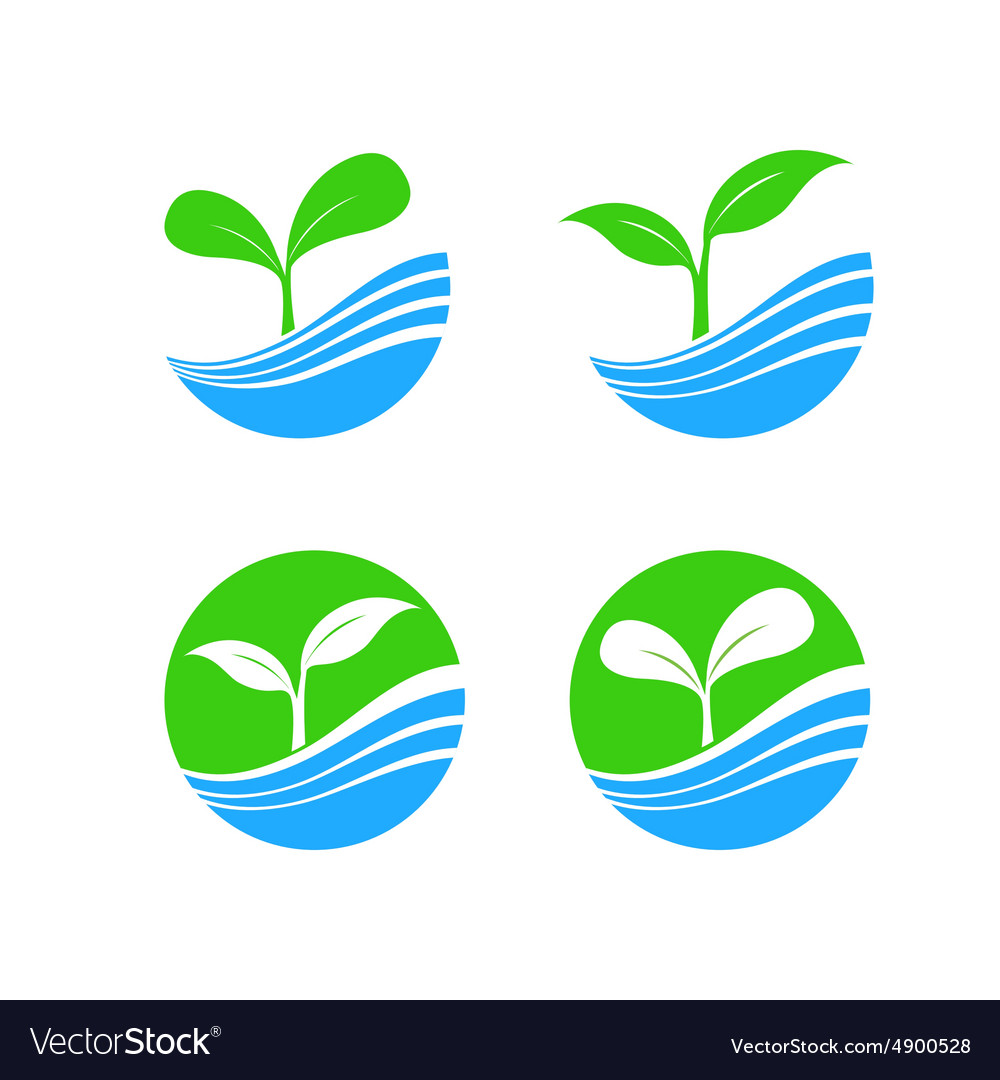 Circle shape logo element with nature plant and vector