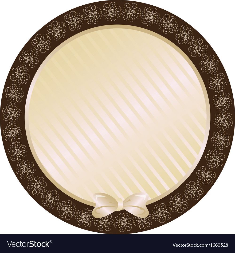 Lace biege round frame vector