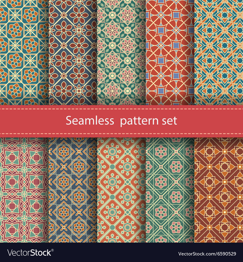 Set of 10 seamless mosaic patterns arabic vector