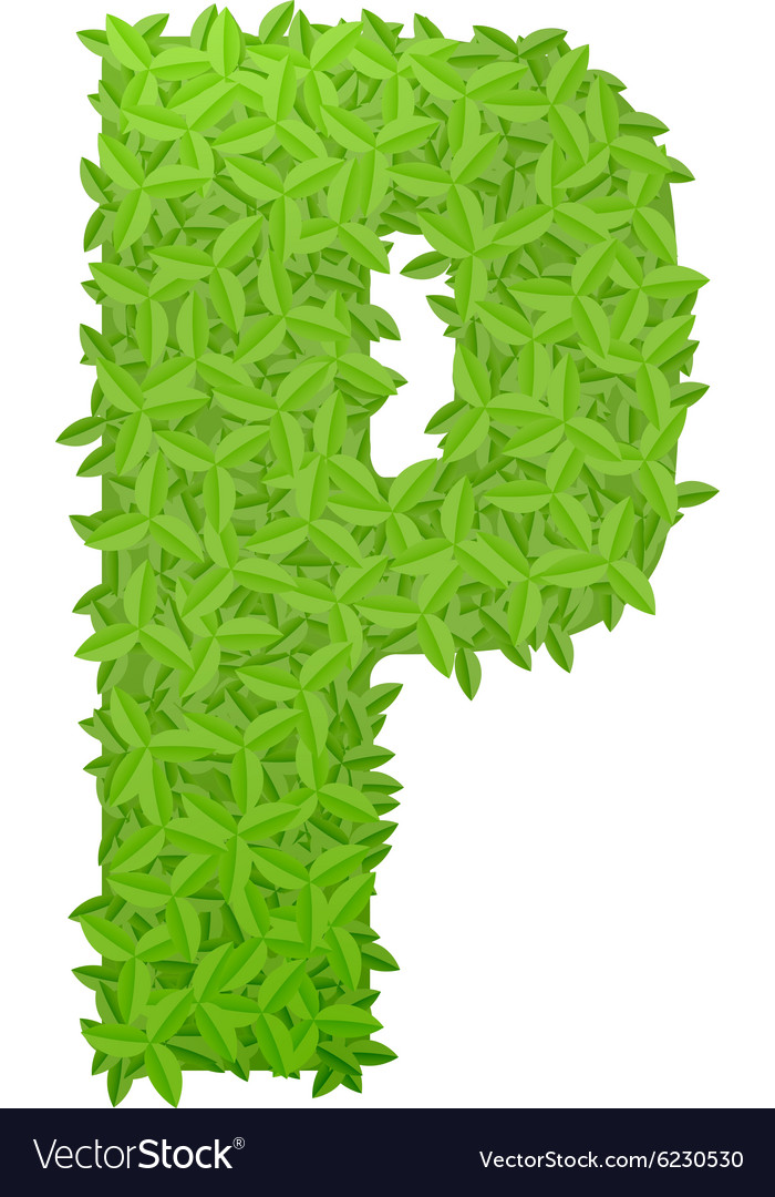 Uppecase letter p consisting of green leaves vector