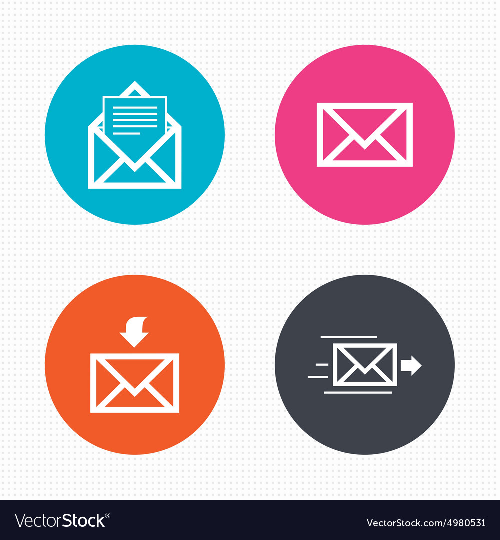 Mail envelope icons message document symbols vector